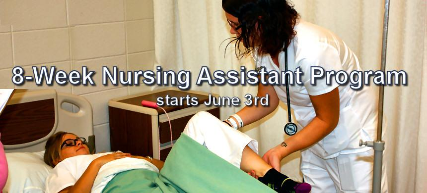 In just 8 weeks you can have the education and skills to become a Certified Nursing Assistant (CNA). Classes meet two days a week - choose daytime or evening schedule. Enrollment is now open – classes begin June 3rd.
