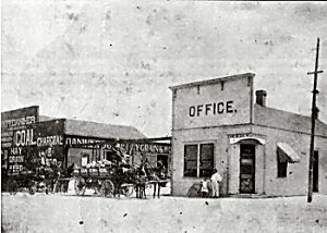 a black-and-white photo showing an Office building