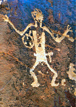 a cave painting of a person