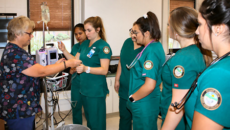 Otero Junior College Nursing Students work with fluids